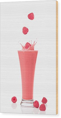 Raspberry And Strawberry Smoothie Wood Print by Amanda Elwell