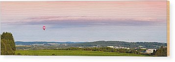 Raspberry Ripple Hot Air Balloon Over Presque Isle Wood Print by Aaron Priest