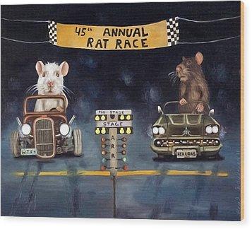 Rat Race Darker Tones Wood Print by Leah Saulnier The Painting Maniac