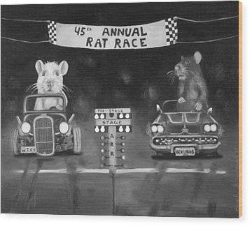 Rat Race In Black And White Wood Print by Leah Saulnier The Painting Maniac