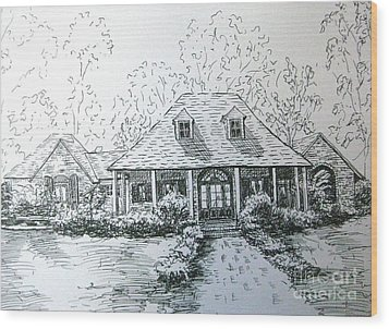 Wood Print featuring the drawing Rathe's Home by Gretchen Allen