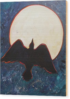 Raven And Bright Moon Wood Print by Carol Suzanne Niebuhr