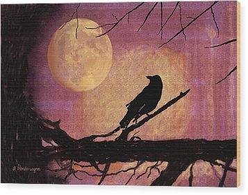 Raven And The October Moon Wood Print by Arline Wagner