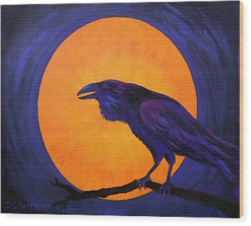 Wood Print featuring the painting Raven Moon by Janet Greer Sammons