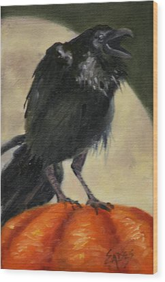 Raven Moon Wood Print by Linda Eades Blackburn