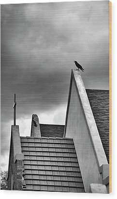 Wood Print featuring the photograph Raven On Church by James Bethanis