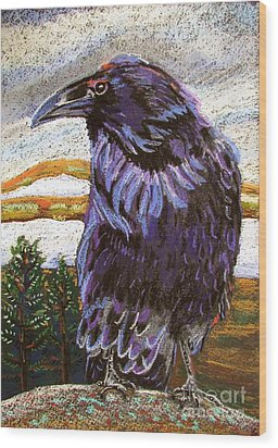 Raven Spirit Wood Print by Harriet Peck Taylor