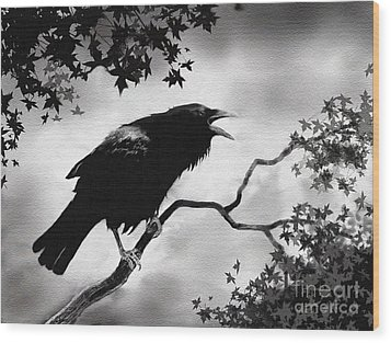 Raven's Song Wood Print by Robert Foster