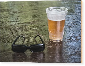 Raybans And A Beer Wood Print by Bill Cannon