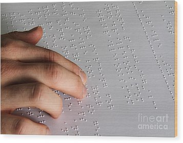 Reading Braille Wood Print by Photo Researchers, Inc.