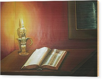 Reading By Candlelight Wood Print