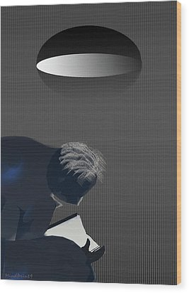 Wood Print featuring the digital art Reading Under Lamplight by Asok Mukhopadhyay