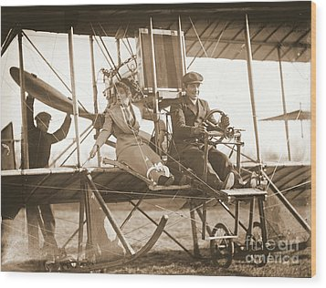 Ready For Takeoff 1912 Sepia Wood Print by Padre Art