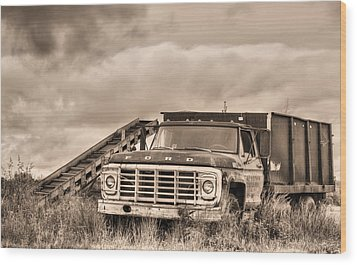 Ready For The Harvest Sepia Wood Print by JC Findley
