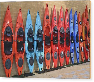Wood Print featuring the photograph Ready Kayaks by Mary Zeman