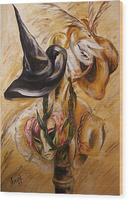 Wood Print featuring the painting Real Women Wear Many Hats by Karen  Ferrand Carroll