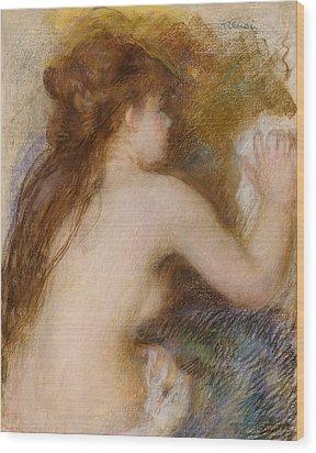 Rear View Of A Nude Woman Wood Print by Pierre Auguste Renoir