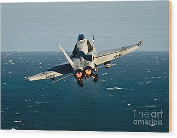 Rear View Of An Fa-18c Hornet Taking Wood Print by Stocktrek Images