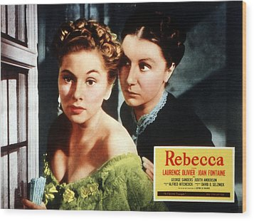 Rebecca, From Left Joan Fontaine Wood Print by Everett