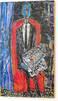 Recalling The Portrait Of An Unknown Man Reading A Newspaper Chevalier X By Andre Derain Wood Print by Eria Nsubuga