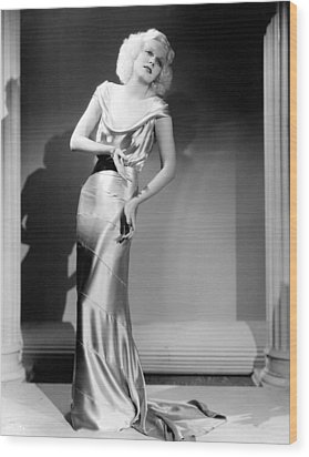 Reckless, Jean Harlow, In A  Dress Wood Print by Everett