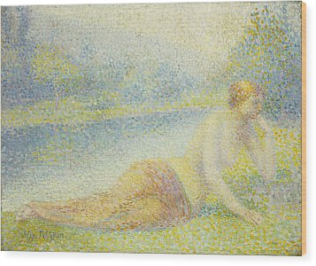 Reclining Nude Wood Print by Hippolyte Petitjean