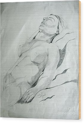 Reclining Nude Wood Print by Julie Coughlin