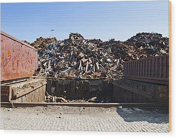 Recycle Dump Site Or Yard For Steel Wood Print by Corepics