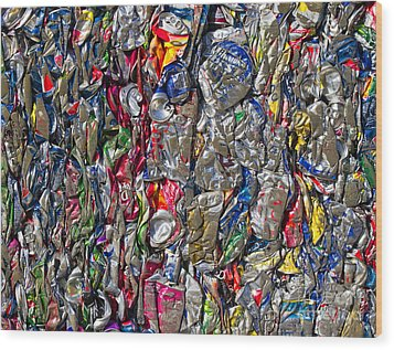 Recycled Aluminum Cans Wood Print by David Buffington