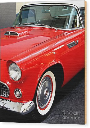 Red 1955 Ford Thunderbird Wood Print by Wingsdomain Art and Photography