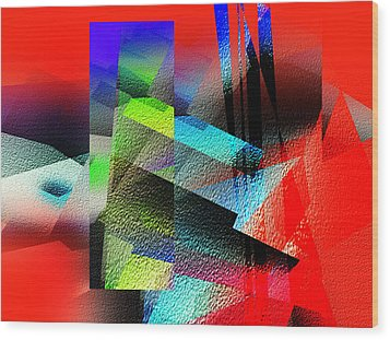 Red Abstract 1 Wood Print by Anil Nene