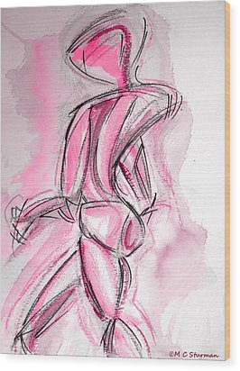 Red Abstract Nude Wood Print by M C Sturman