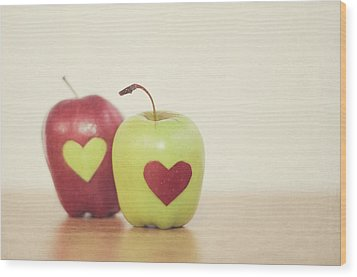 Red And Green Apple With Heart Shape Wood Print by Maria Kallin