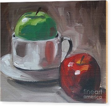 Red And Green Apples Wood Print by Samantha Black