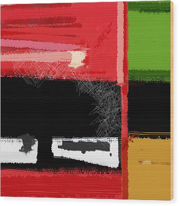 Red And Green Square Wood Print by Naxart Studio