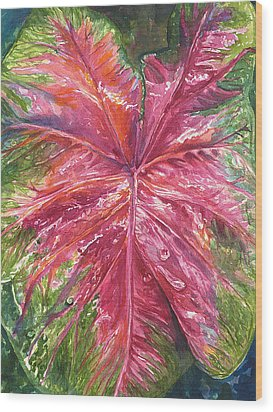 Wood Print featuring the painting Red And Wet by AnnaJo Vahle