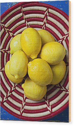 Red And White Basket Full Of Lemons Wood Print by Garry Gay