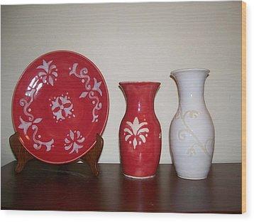 Red And White Wood Print by Monika Hood