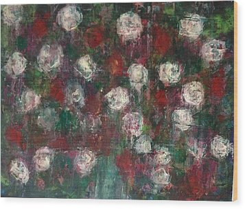 Red And White Roses Wood Print by Kelli Perk