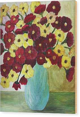 Wood Print featuring the painting Red And Yellow Bouquet In Blue by Christy Saunders Church