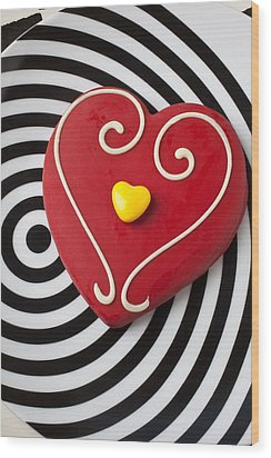 Red And Yellow Heart Wood Print by Garry Gay