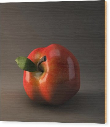 Red Apple Wood Print by BaloOm Animation Studios