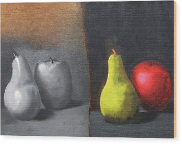 Red Apple Pears And Pepper In Color And Monochrome Black White Oil Food Kitchen Restaurant Chef Art Wood Print