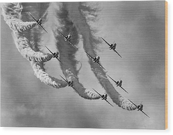Red Arrows Black And White Wood Print by Ken Brannen