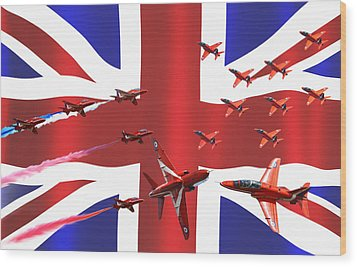 Red Arrows Union Jack Wood Print by Ken Brannen