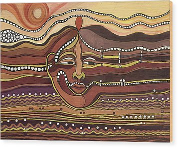 Red Aztec Face In Nature Landscape Abstract Fantasy With Earth Colors Sunset And Skyline Wood Print