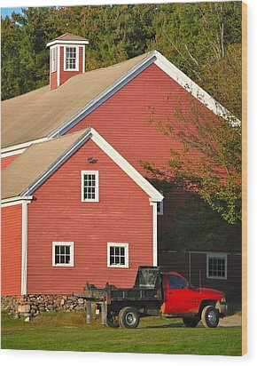 Red Barn - Red Truck Wood Print