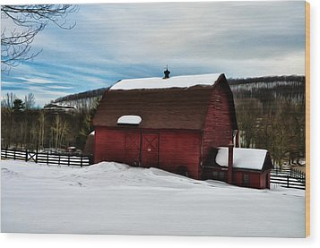 Red Barn In The Snow Wood Print by Bill Cannon
