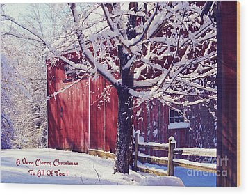 Red Barn In The Winter Connecticut Usa Wood Print by Sabine Jacobs