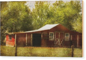 Wood Print featuring the photograph Red Barn by Joan Bertucci